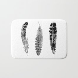 Feather Trio   Three Feathers   Bird Feathers   Black and White   Bath Mat