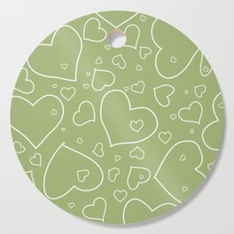 Hand Drawn Hearts Pattern Spring Green and White Cutting Board