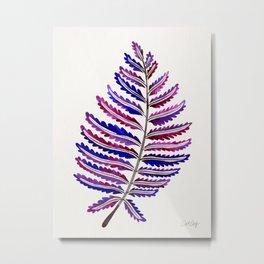 Fern Leaf – Indigo Palette Metal Print
