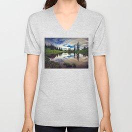 Mountain Reflections Mt Rainier Washington Unisex V-Neck