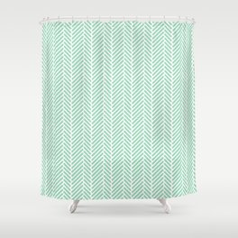 Herringbone Mint Inverse Shower Curtain