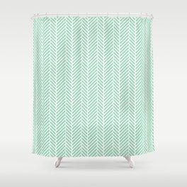 Herringbone Mint Inverse Shower Curtain
