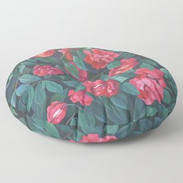 Camellias, lips and berries. Floor Pillow