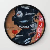 new jersey Wall Clocks featuring NEW JERSEY by Christiane Engel