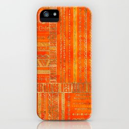 Tribal Ethnic pattern gold on bright orange iPhone Case