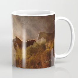 Horses in a Golden Meadow by Georgia M Baker Coffee Mug