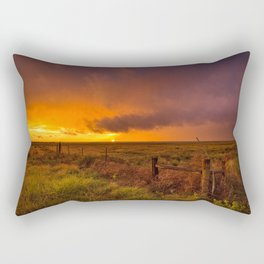 Sunset on the Plains - Sun Illuminates Sky After Stormy Day Rectangular Pillow
