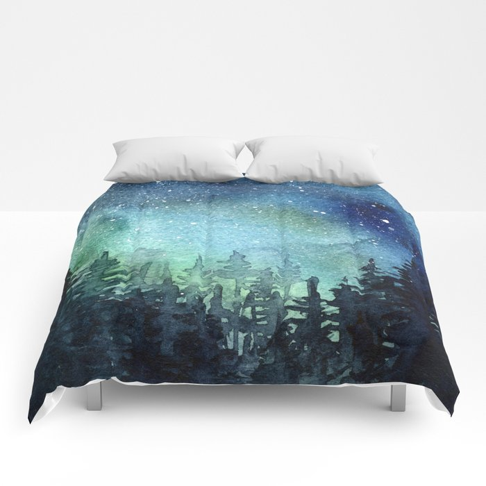 Galaxy Watercolor Aurora Borealis Painting Comforters
