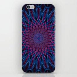 Dark blue and pink mandala iPhone Skin