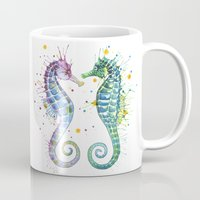 seahorse Mugs featuring Seahorse by Sam Nagel