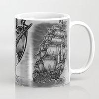 pirate ship Mugs featuring Caleuche Ghost Pirate Ship by Roberto Jaras Lira