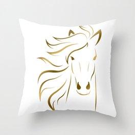 Golden Horse Drawing Throw Pillow