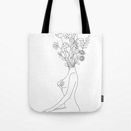 Minimal Line Bloom Tote Bag