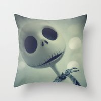 nightmare before christmas Throw Pillows featuring Mr. Jack (Nightmare Before Christmas) by LT-Arts
