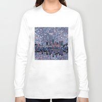 texas Long Sleeve T-shirts featuring austin texas city skyline by Bekim ART