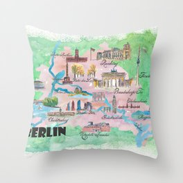 Berlin Germany Map Travel Poster Overview Best Of Typical Highlights Throw Pillow