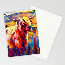 Highland Cow 4 Stationery Cards
