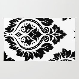 Decorative Damask Art I Black on White Rug