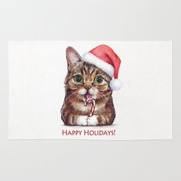 Cat in Santa Hat with Candy Cane Funny Christmas Animal Rug