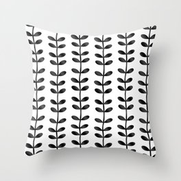 Minimalist Spring Theme Leaf Pattern Artwork Throw Pillow