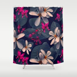 Mixed Tropical Floral in Twilight Shower Curtain