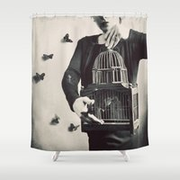 butterfly Shower Curtains featuring The Butterfly Releaser by elle moss
