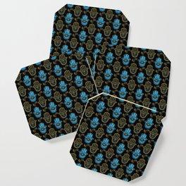 Hamsa Hand pattern - Gold and Blue glass Coaster