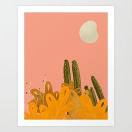 pink Cactus Art Print