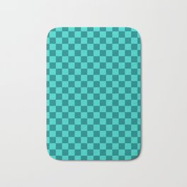 Teal and Turquoise Checkerboard Bath Mat