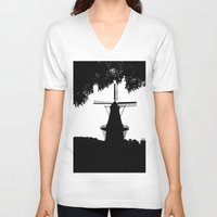 moulin rouge V-neck T-shirts featuring Moulin Noir by Klaudia