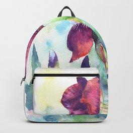Watercolor iris flowers Backpack