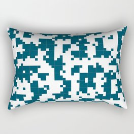 Small Pixel Big Pixel - Geometric Pattern in Dark Blue Rectangular Pillow