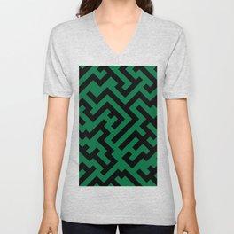 Black and Cadmium Green Diagonal Labyrinth Unisex V-Neck