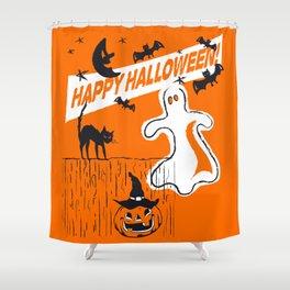 Rustic Vintage Spooky Happy Halloween Shower Curtain
