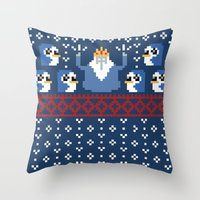 minions Throw Pillows featuring Ice King and Minions by paperboyjim