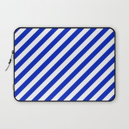 Cobalt Blue and White Wide Candy Cane Stripe Laptop Sleeve