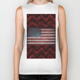 Carmine Red Digital Camo Chevrons with American Flag Biker Tank