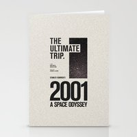 2001 a space odyssey Stationery Cards featuring 2001: A Space Odyssey Movie Poster by Sam Peckham