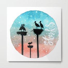 Storks Watercolor Metal Print