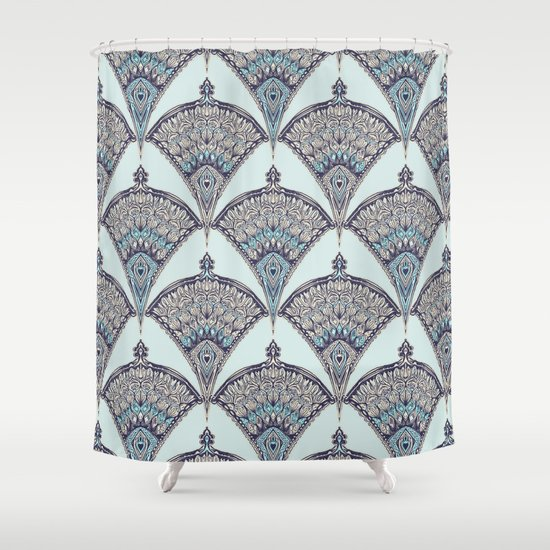 Deco Doodle In Aqua Cream Amp Navy Blue Shower Curtain By