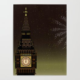 Big Ben And New Year Poster