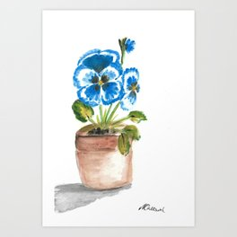 Blue pansy flowerpot Art Print