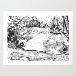 Pond near Stockley Park Art Print