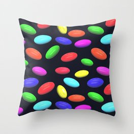 Colored sweets on a dark background. Throw Pillow