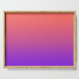 Gradient Ombre Living Coral Proton Purple Pattern Orange Peach Neon Ultra Violet Soft Trendy Texture Serving Tray