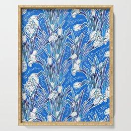 White Crocuses, Spring Flowers, Botanical Floral Pattern, Mariner Blue Serving Tray