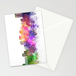 Norfolk skyline in watercolor background Stationery Cards