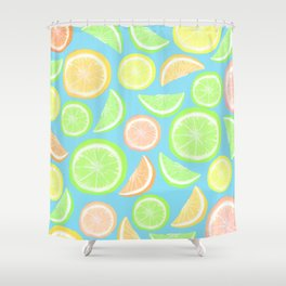 Mixed Citrus - blue Shower Curtain