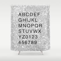 helvetica Shower Curtains featuring Helvetica Jumble by SpareType