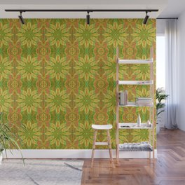 Sun Flower, bohemian floral, yellow, green & orange Wall Mural